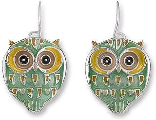 Baby Hoot Owl Enamel Dangle Earrings By Zarah