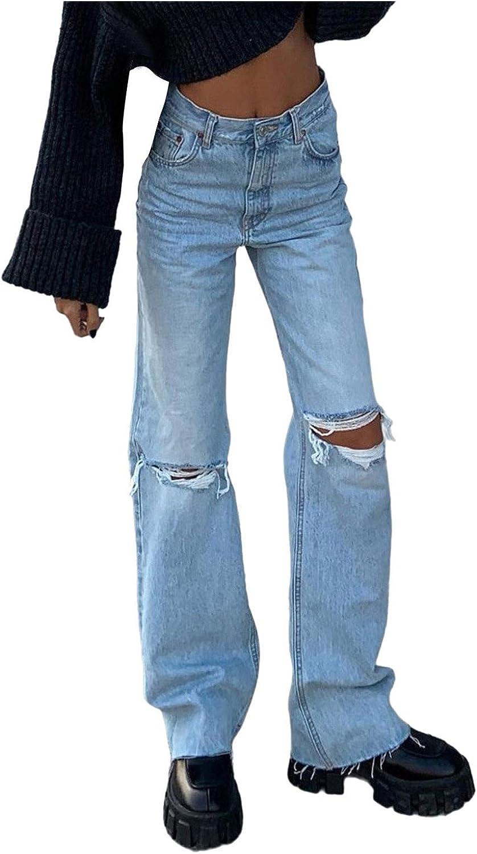 Euone_Clothes Jeans Pant for Women, Women Button High Waist Pocket Elastic Hole Jeans Trousers Loose Denim Pants