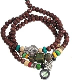 Fish Charm Beaded Mala 3X Wrap Bracelet and Necklace Yoga Meditation Jewelry