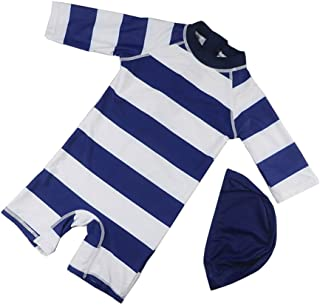 男の子の水着 子供用ワンピース水着ボーイストライプスパ水着 水着水着 (サイズ : S)