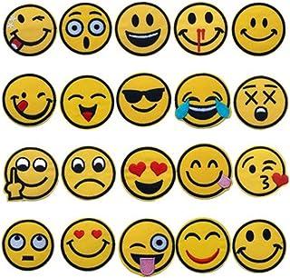 【大量20枚フルセット】Emoji スマイリーフェイス ワッペン スマイルマーク 刺繍 アップリケ ワッペン アイロンパッチ
