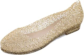 Ouronehome Women's Slip On Jelly Flats Glass Slipper
