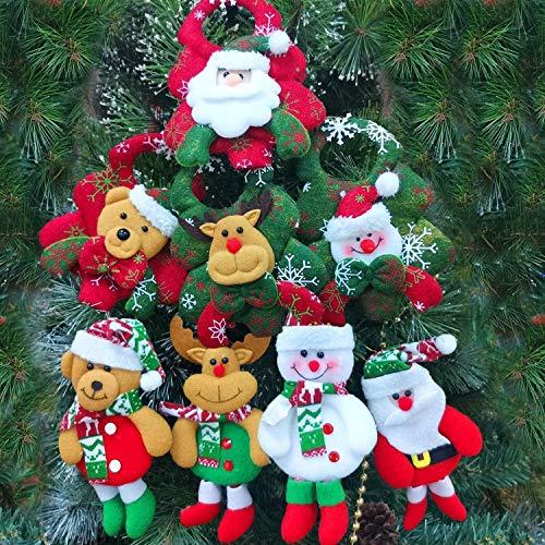 8 Pack Christmas Tree Decorations Ornaments Set,Christmas Tree Pendant Plush Snowman Santa Claus Polar Bear Elk Hanging Christmas Tree Decoration Pendants for Xmas Home Party Holiday Decorative