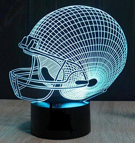 Football Helmet 3D Night Light, Terrosol 7 Colors Changing LED Desk Lamp Touch Control for Boys, Dad, Sports Fan Gift