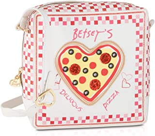 Betsey Johnson Kitch Pizza Box Kitch Crossbody Shoulder Bag - Cream
