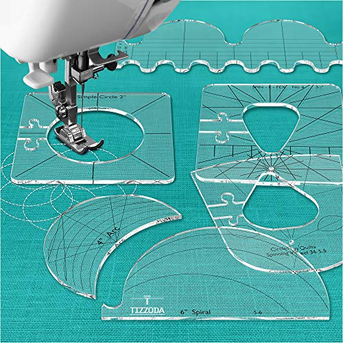 Nähwerkzeuge New Linuler Nähwerkzeuge New Linuler Template Sampler Set für häusliche Nähmaschine – Quilting Tool Schablone Werkzeug für Quilten – Quilting Lineal und Schablonen Dicke 0,64 cm