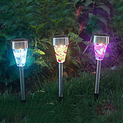 3 Stück Solarleuchten Garten LED Leuchten , Gartenleuchten Bunt Mosaik mit Erdspießen für Garten Balkon Terrasse von NORDSD*