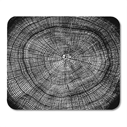 Alfombrilla de ratón Semtomn Mini rectángulo de Goma Anillos de árbol en Blanco y Negro Tocón Anual como patrón de Madera Alpha Channel Gaming Notebook Accesorios para computadora Soporte