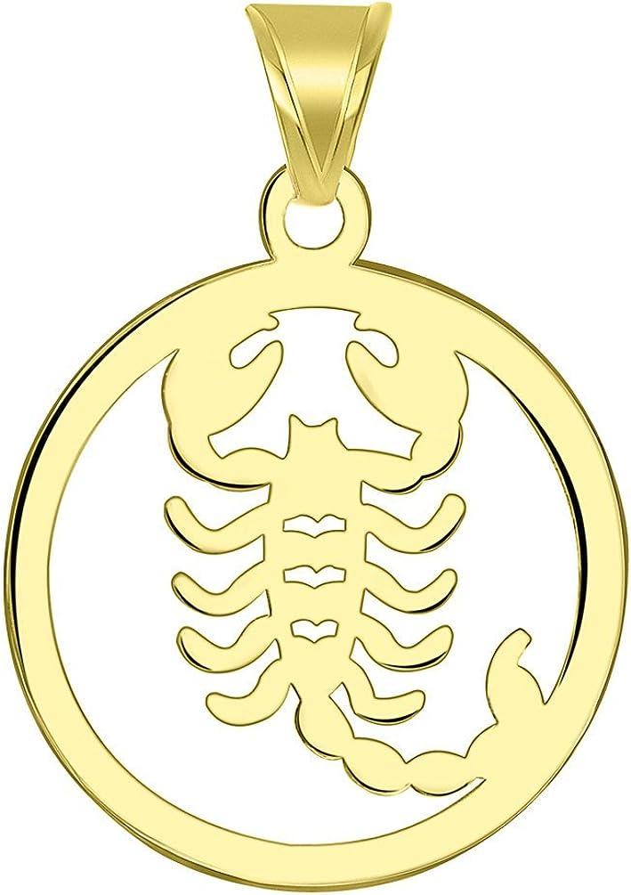 14k Yellow Gold Dainty Round Scorpio Zodiac Symbol Cut-Out Scorpion Pendant