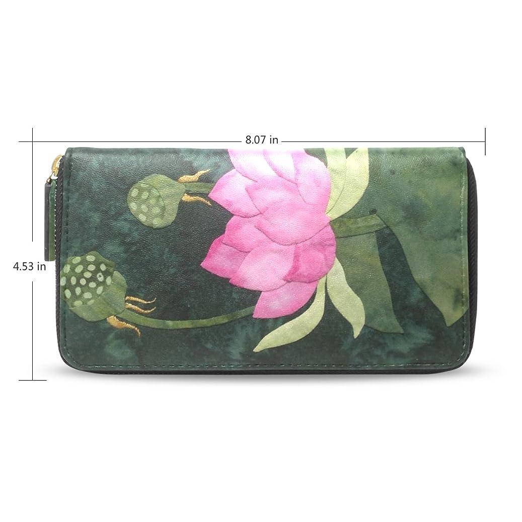 出発するソファーディスクbaihuishop Lotus Flowerパターンレザーロングウォレット&財布ケースカードホルダー