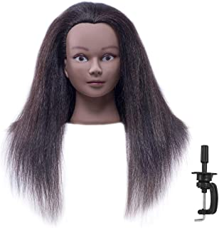"""African American Mannequin Head with 100% Real Hair and Adjustable Stand 18-20"""" for Braiding Hair Styling Training Hairart..."""