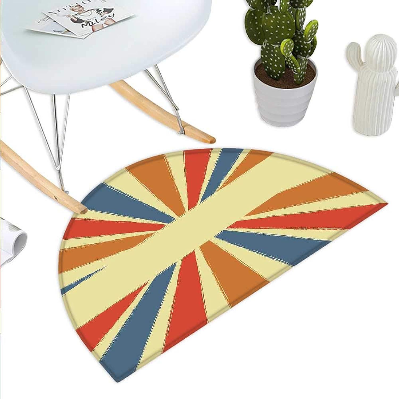Vintage Rainbow Semicircle Doormat Hand Drawn Style Burst of colorful Sunbeams with Grunge Effect Retro Design Halfmoon doormats H 43.3  xD 64.9  Multicolor