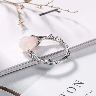 Lozse Anelli regolabili S925 puro argento mosaico naturale polvere cristallo Orchid retrò semplice anello da donna