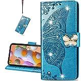 COTDINFORCA case for Huawei P40 Lite 5G Hülle,Diamant Kristall Schutzhülle Magnet Handytasche Kartenfächer Lederhülle Flip Handyhüllen für Huawei NOVA 7 SE Cover Diamond Butterfly Blue SD