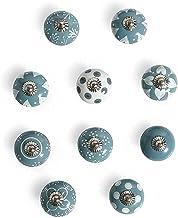 India Artistic Set van 10 Grijze Handgemaakte Knoppen | Keramische Kabinet Knoppen | Lade Trekt Handgrepen | Vintage Dress...