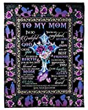 Personalized to My Mom Fleece Blanket from Daughter Art Print Designed Flower Cross Christ Jesus Quote wrap Yourself A Big Hug for Mom Customized Blanket Gifts for Mothers Day Fathers Day Birthday