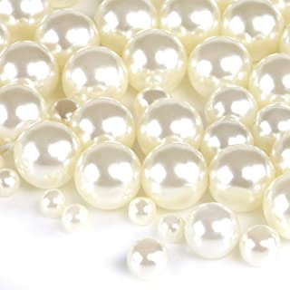 Naler 500pcs Assorted Pearl Beads for DIY Jewelry Making Vase Fillers Table Scatter Wedding Birthday Party Home Decoration, Ivory&White, 0.15/0.23/0.30/0.39 inch