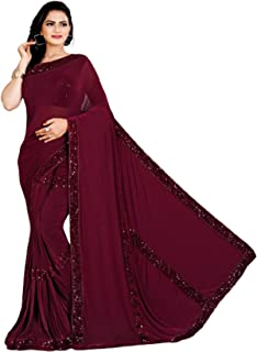Indian Cocktail Party Lycra Sequin Fancy Trendy D Sari 6237 Blouse Stitched 1 Minute Saree