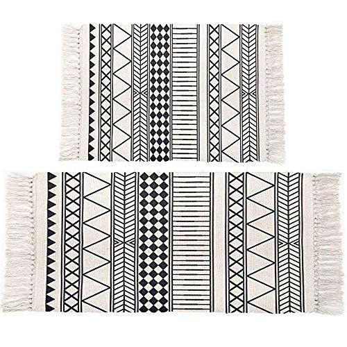 Pauwer Baumwolle Teppiche mit Quasten Handgewebte Bedruckte Teppich rutschfest Abwaschbar Bereich Teppich für Schlafzimmer, Küche, Waschküche,60x130cm