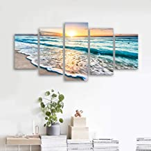 decalmile 5 Panel Wall Art Painting Blue Beach Sunrise Waves Picture Printed on Canvas Modern Artwork Stretched and Framed Ready to Hang for Home and Office Decoration Decor