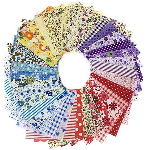 ZJERTF 50 StüCk Baumwollstoff Paket Stoffpakete Patchwork Stoffe Stoffe aus Baumwolle Bunte Baumwollstoff mit VielfäLtiges Muster für Patchwork zum NäHen für Kleidung BettwäSche VorhäNge Tischdecken