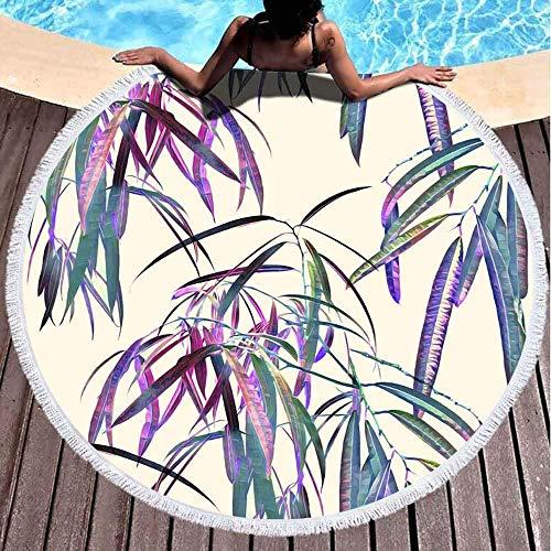 Toallas de playa redondas para niños, patrón de hojas exóticas, fondo de acuarela, pintadas de 152 x 152 cm, toalla de playa grande redonda para niños, mujeres y niños