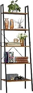 Homfa Industrial Ladder Shelf, 5 Tier Bookshelf Plant Flower Stand Storage Rack Multipurpose Utility Organizer Shelves Wood Look Accent Metal Frame Furniture Home Office