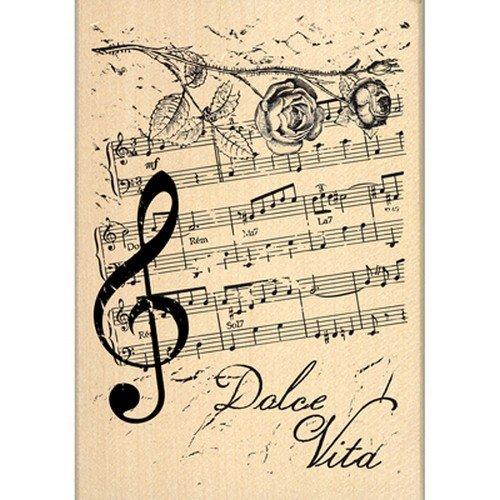 Florilèges FG114039 Sello Diseño Beige Scrapbooking Notas de la música de 10 x 7 x 2,5 cm
