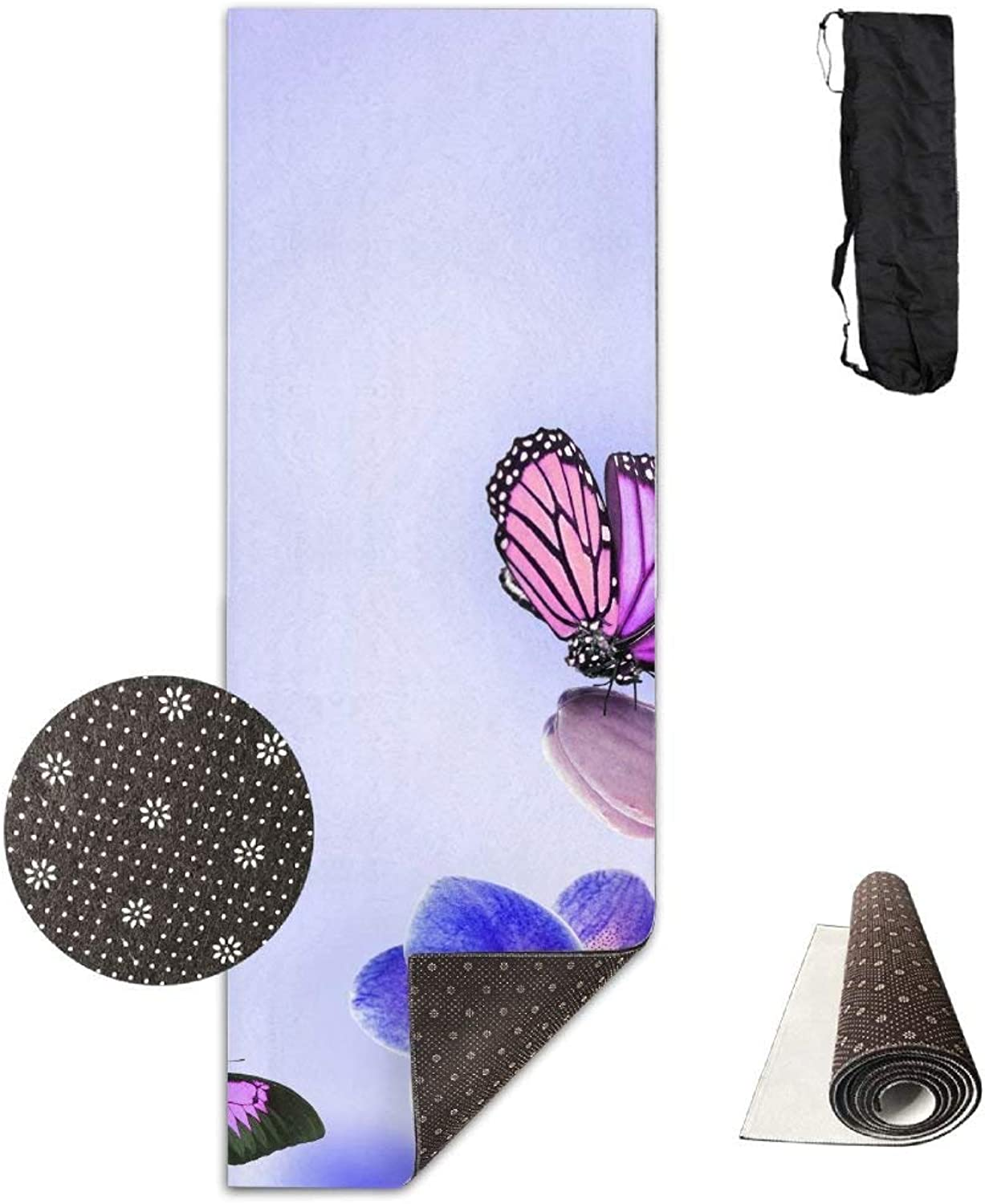 blueee and Purple Butterfly Deluxe Yoga Mat Aerobic Exercise Pilates