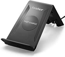 [Nuevo Version] iVoler Cargador Inalámbrico Rápido,[2 Bobinas] Soporte de Carga Inalámbrico Qi Wireless Quick Charger QC 2.0 Carga Rápida 10W y Estándar 5W para Móviles y Todos los dispositivos con Qi