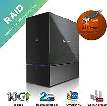 "Mediasonic ProRaid USB 3.1 10Gbps 2 Bay 2.5"" & 3.5"" SATA Hard Drive Enclosure – USB 3.1 Gen 2 10Gbps / USB-C/USB Type C (HUR5-SU31C)"