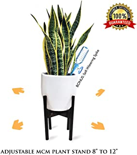 """Radiant Royals Extendable Mid Century Modern Plant Stand for Pot Sizes 8"""" to 12"""" in Black 