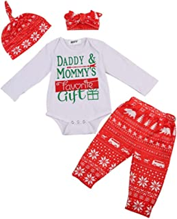 4Pcs Christmas Newborn Baby Romper with Pants Hat Headband Infant Clothes Set Christmas Bodysuit Outfit