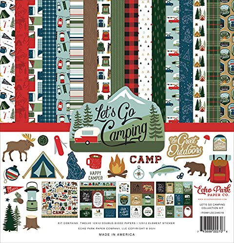 Echo Park Paper Company Let's Go Camping Collection Kit Paper, Multi
