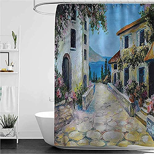 Cortinas Baño Antimoho Cortina De Ducha Rústica Divertida Casas Vintage En Pueblo Cortina De Baño De Tela De Poliéster Impermeable