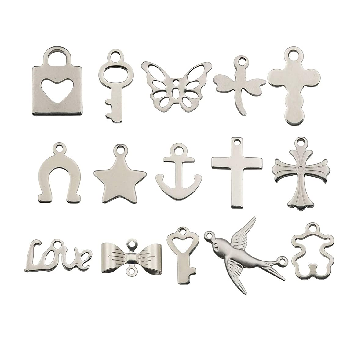 Stainless Steel 120pcs Mixed Bird Key Star Cross Charms Pendant for Jewelry Making DIY Findings Necklace Bracelet Earrings Parts M246