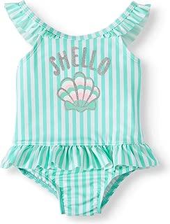 Wonder Nation Baby Girls Shello Wow-Ease Magnetic Closure Rashguard Swimsuit with Ruffle Green Stripe