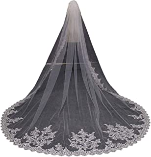 Wedding Veils White 1 Tier Sequins Lace Cathedral Long with Comb - coolthings.us