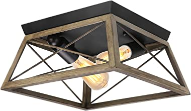 Flush Mount Ceiling Light, KingSo Farmhouse Light Fixture with UL Listed Kitchen Light Fixtures Ceiling for Dining Room Bedroom Foyer Hallway, Oil Rubbed Bronze Finish Wood Texture