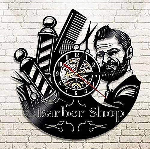 yltian Reloj de Vinilo barbería Letrero Reloj de Pared Disco de Vinilo Reloj de Pared Peluquero Estilista Herramientas de peluquería Tijeras peluquería Arte Regalos