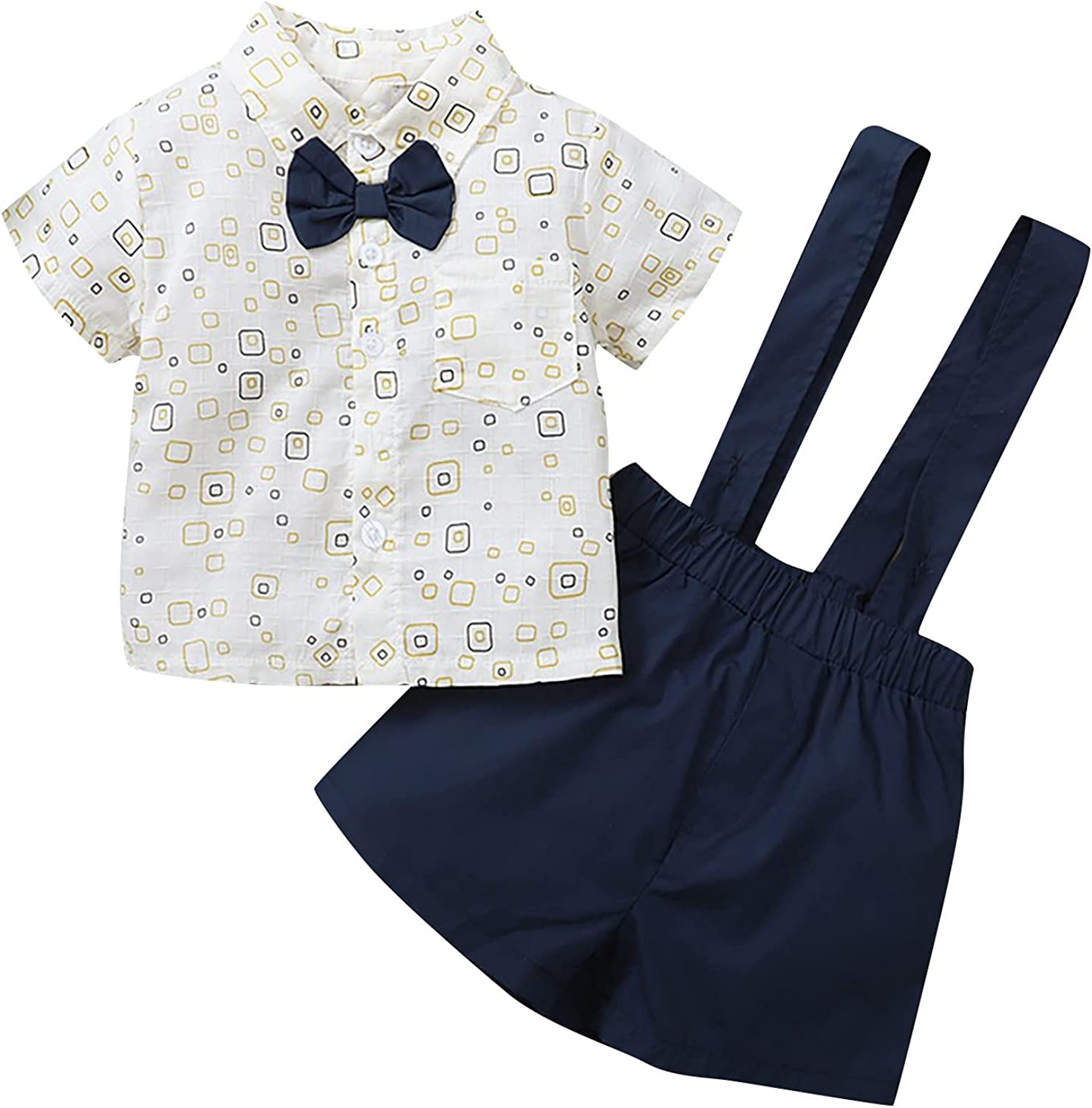 Toddler Baby Boys Summer Today's only Limited time trial price Check Short-sleeved Print Overalls Clot