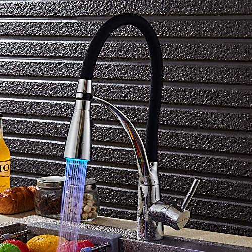 Yongenee Cocina Moderna Led Luminoso Agua Caliente y fría del Grifo del Fregadero Tirando Vegetal Universal giratoria Grifo del Fregadero Negro Cromo Hermosa práctica