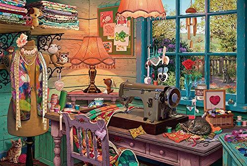 VVNASD Puzzles De 1000 Piezas para Infantiles Tienda de Costura Arte De Bricolaje Cuadro Moderno para Decoración del Hogar Obra Única Regalo Madera Gran Regalo Educativo para Niños