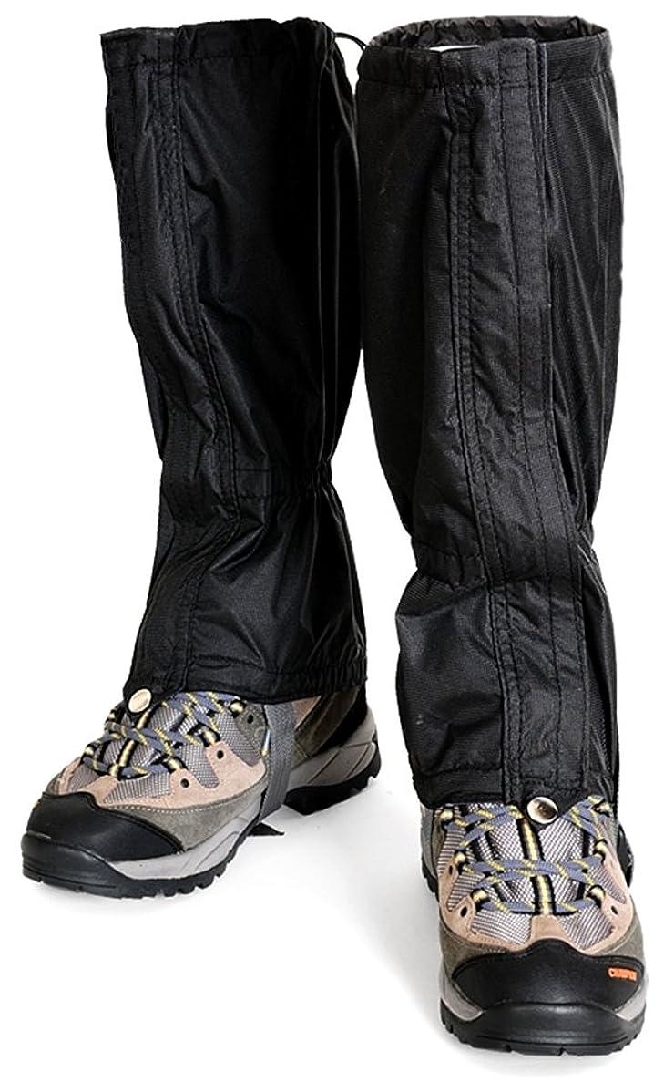 出席する柔らかい足受益者登山 トレッキング 用 防水 ロング スパッツ (ブラックxロゴなし)