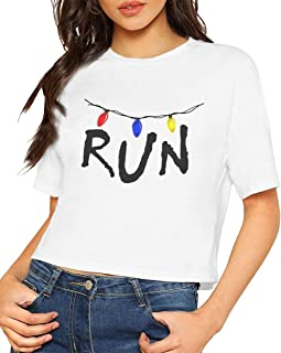 Women's Crop Tops, Stranger Things Will Run Women Summer Short Sleeve T-Shirt