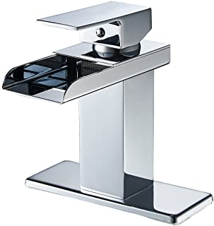 GGStudy Chrome Waterfall Bathroom Sink Faucet Single Handle One Hole Basin Mixer Tap Lavatory Faucets