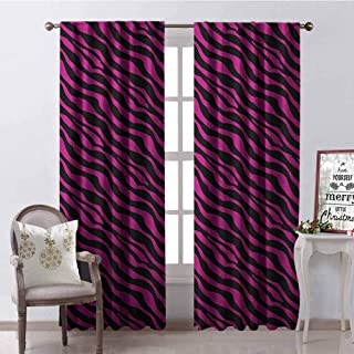 GloriaJohnson Pink Zebra Shading Insulated Curtain Wild Zebra Background Stripes Savannah African Exotic Youth Culture Hippie Soundproof Shade W52 x L72 Inch Magenta Onyx