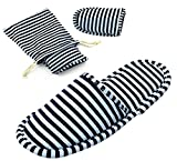 Non-Disposable Travel Slippers Portable Sandals Cotton Spa Hotel Slippers Guest Room Indoor House Slippers Flight Slippers Anti-Skid Foldable Camping Slippers Shoes Footwear Dark Blue