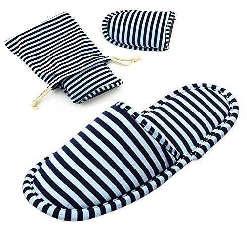 Non-Disposable Travel Slippers Portable Cotton Spa Hotel Guest Indoor Slippers, Dark Blue, 5-7 Women/3-5.5 Men