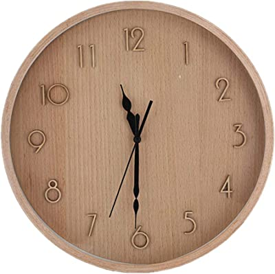MZXI Mute Wall Clock Solid Wood Frame Creative Minimalist Style Clock Suitable for Home Kitchen Living